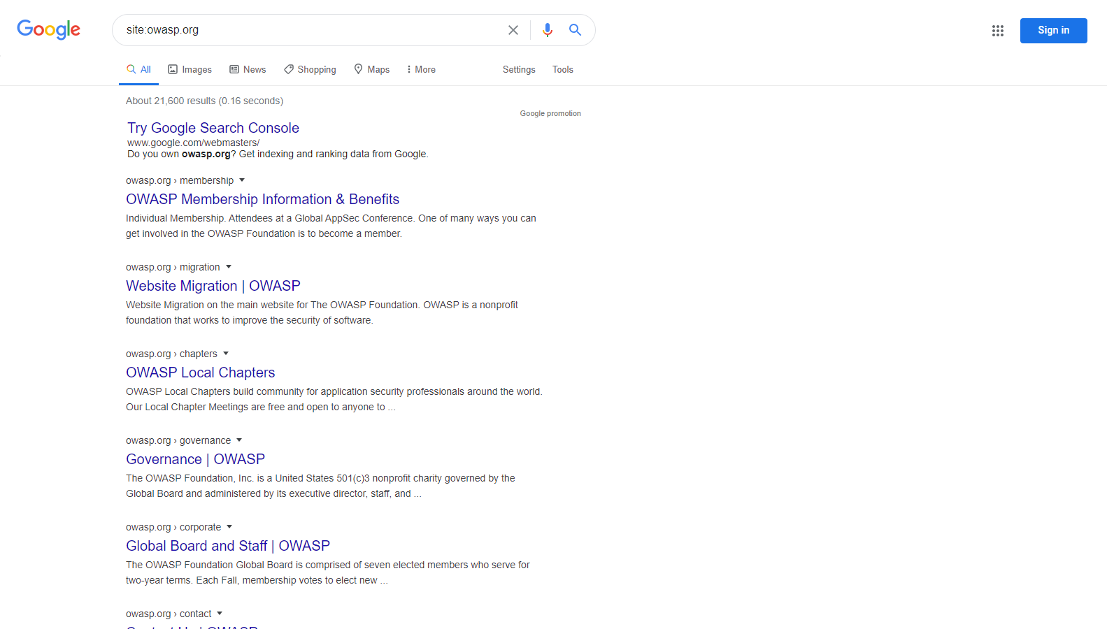 Google Site Operation Search Result Example